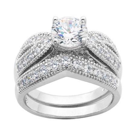 DiamonArt Cubic Zirconia Sterling Silver Bridal Ring Set, 6 , No Color Family