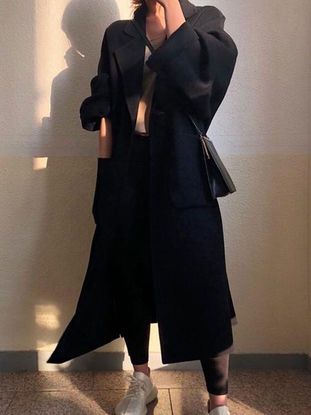 Milanoo Abrigo para mujer Cuello vuelto con cordones Fajin extragrande Abrigo cruzado amarillo