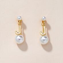 Faux Pearl & Letter Drop Earrings