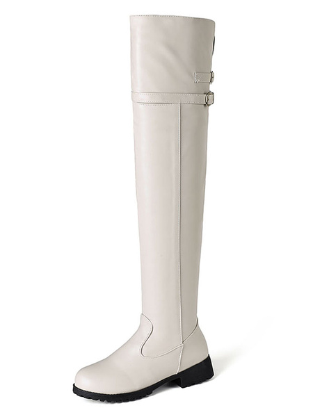 Milanoo Over The Knee Boots Womens PU Solid Color Round Toe Puppy Heel Casual Boots