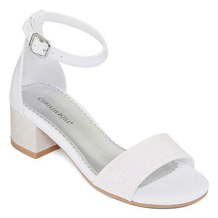 Christie & Jill Little Kid/Big Kid Girls Mallory Open Toe Block Heel Pumps, 1 Medium, White