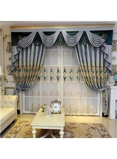 European Style Embroidered Floral Decorative Custom Sheer Curtains
