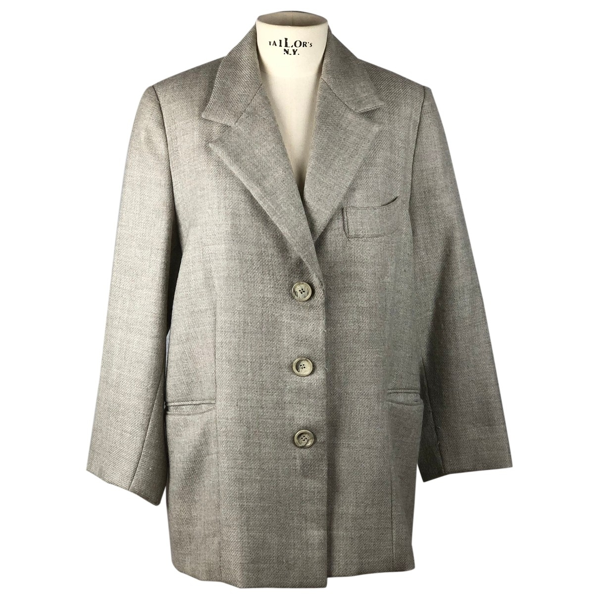 Non Signé / Unsigned Epaulettes Grey Wool jacket for Women 44 IT
