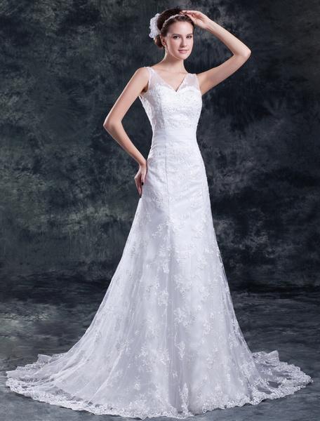 Milanoo Vestido de boda blanco con encajes y bordados de linea A con escote en V