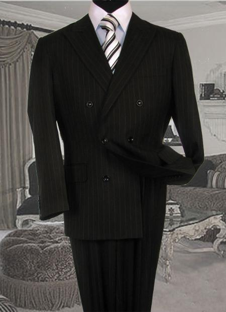 Mens Double Breasted Black with White Stripe Suit and Pleated Pants