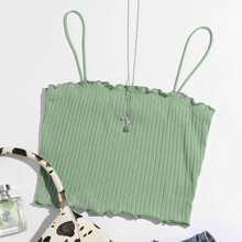 Lettuce Trim Rib-knit Cami Top