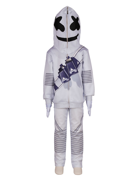 Milanoo Fortnite Marshmello Cosplay Costumes White Non-personalized Polyester Game Cosplay Costumes