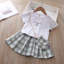 Outfits dos piezas para niña pequeña A cuadros Multicolor Preppy