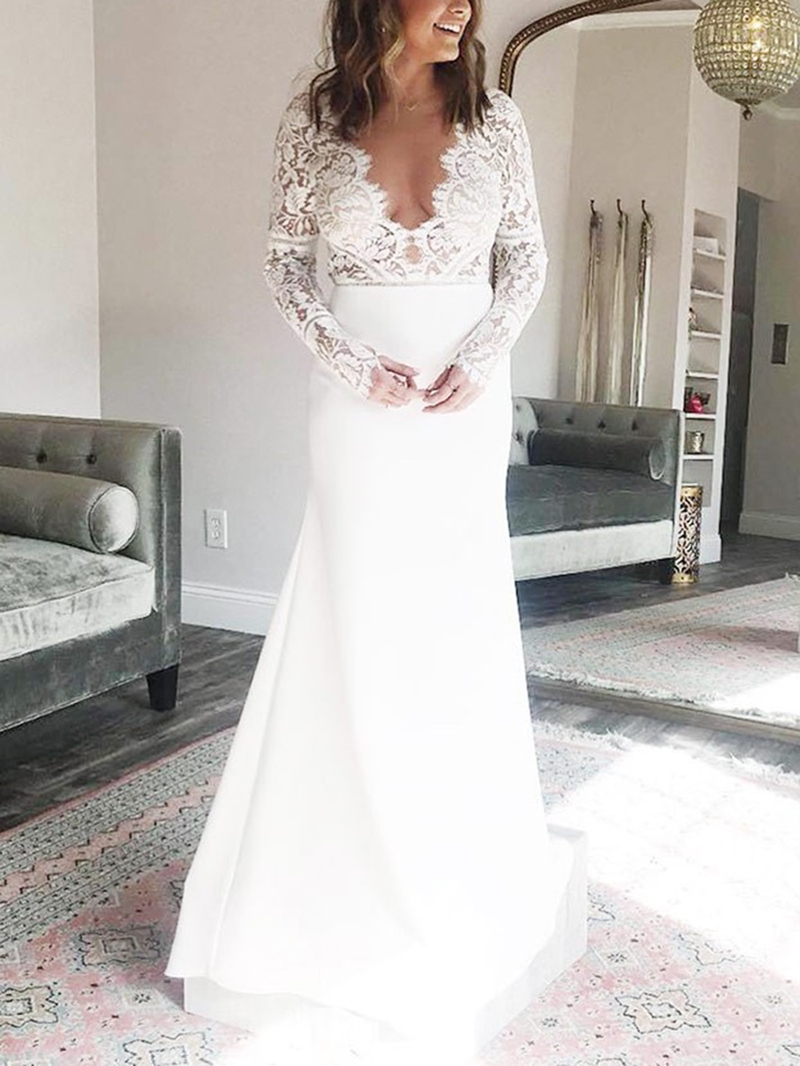Ericdress Mermaid Long Sleeves Lace Wedding Dress