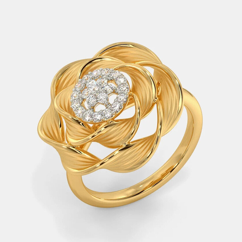 Vintage Temperament Metal Rose Diamond Ring Geometric Hollow Stereoscopic Flower Ring