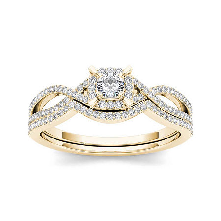 1/3 CT. T.W. Diamond 14K Yellow Gold Engagement Ring, 9 , No Color Family