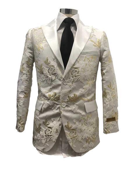 Mens Floral Satin Fashion Blazer Dinner Stage Fancy Party White/Gold