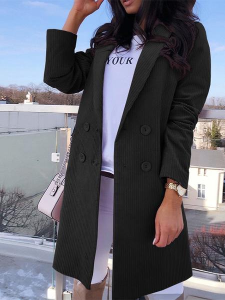 Yoins Button Front Notch Collar Long Sleeves Corduroy Coat