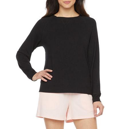 Ambrielle Womens French Terry Pajama Top Round Neck, Medium , Black