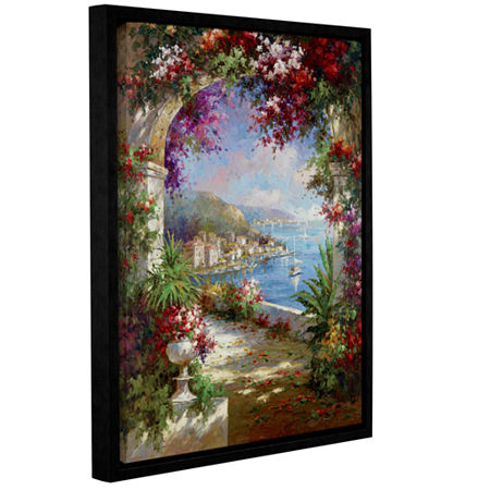 Brushstone Floral Vista Gallery Wrapped Floater-Framed Canvas Wall Art, One Size , Green