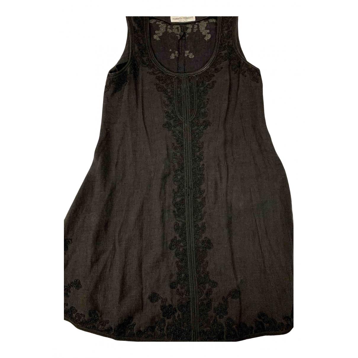 Alberta Ferretti - Robe   pour femme en lin - noir