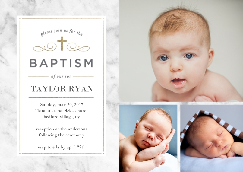 Baptism Invitations Flat Matte Photo Paper Cards with Envelopes, 5x7, Card & Stationery -Baptism Simple Cross