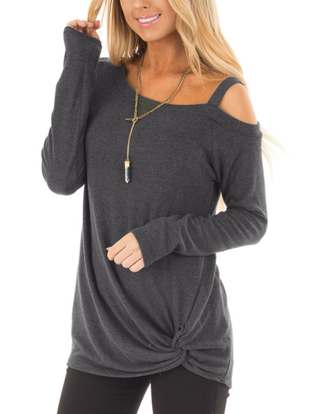 Yoins Dark Grey Crossed Front Design Plain One Shoulder Long Sleeves T-shirts