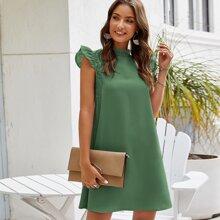 Tunika Kleid mit Stehkragen, Kontrast Spitze und Raffung