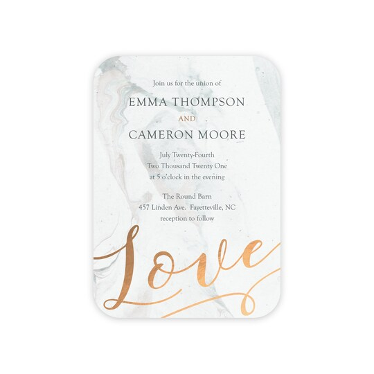 Gartner Studios® Personalized Mostly Marble Wedding Foil Invitation | Michaels®