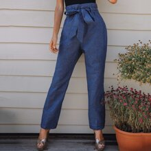 Paperbag Waist Seam Front Belted Jeans