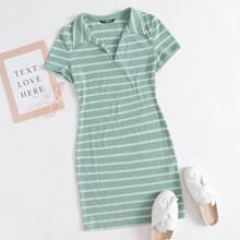Notch Neck Striped Rib-knit Dress