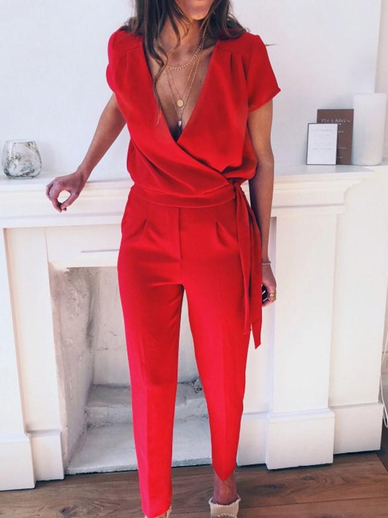 Ericdress Plain Office Lady Dressy Slim Jumpsuit