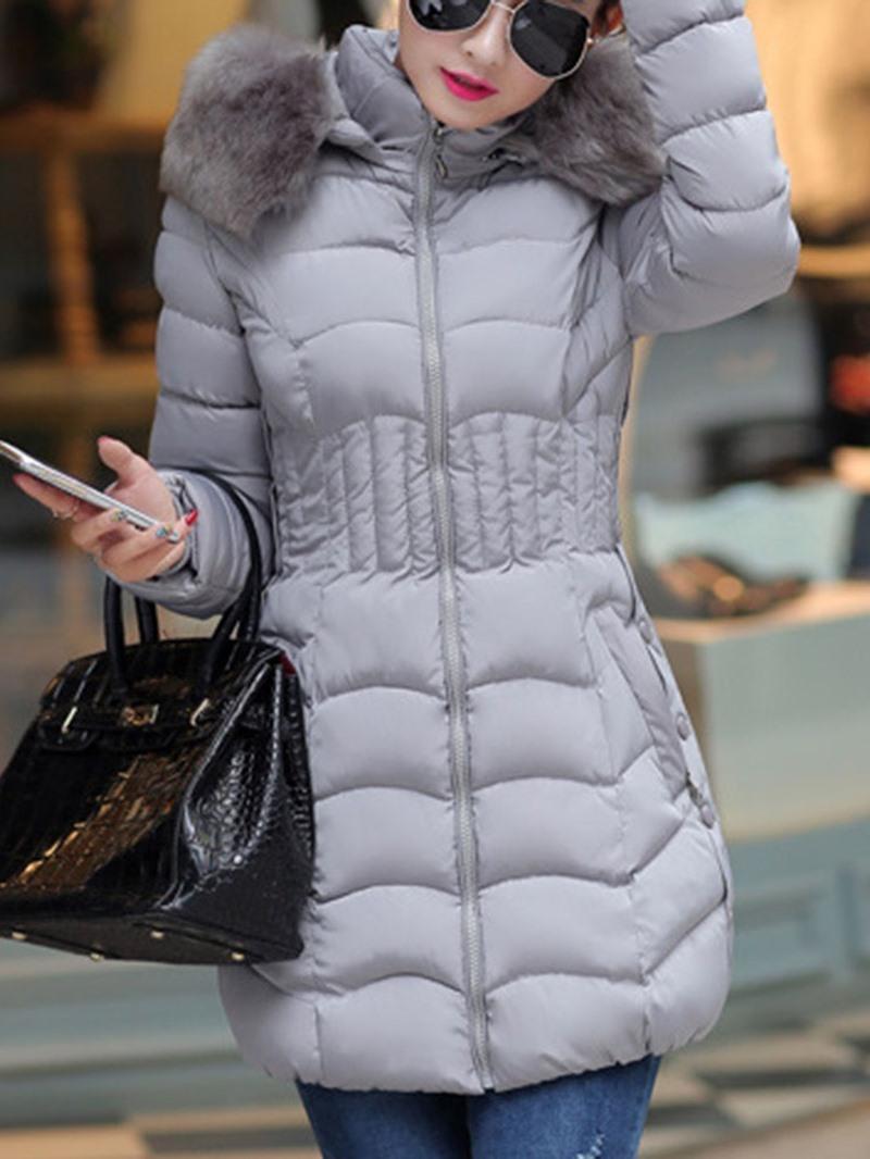 Ericdress Plus Size Slim Zipper Thick Mid-Length Cotton Padded Women's Jacket