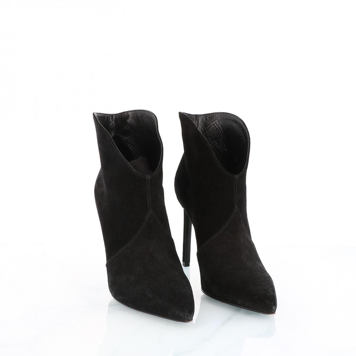 Yves Saint Laurent - Boots   pour femme en suede - noir