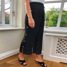 Plus Buttoned Split Side Pants