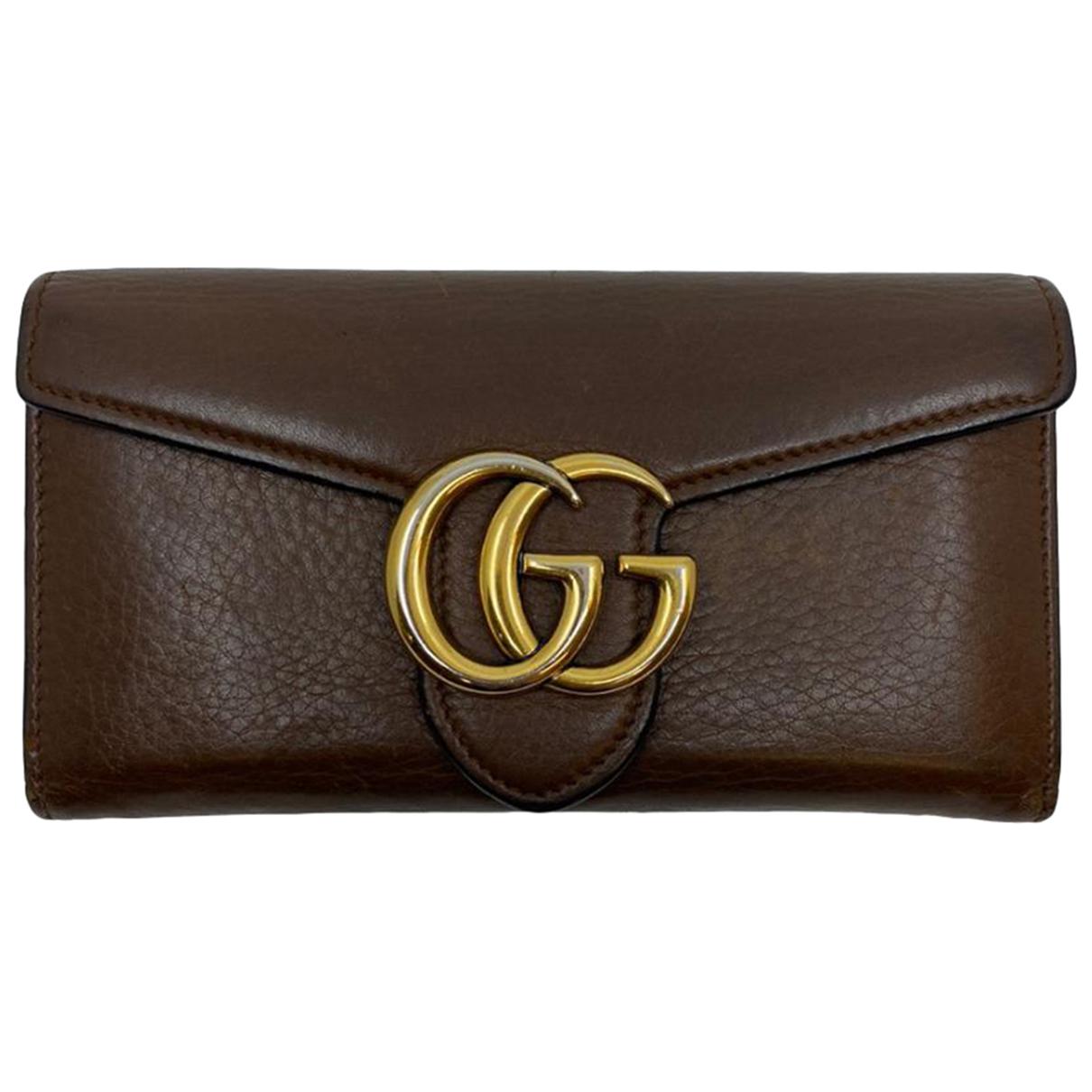 Gucci - Portefeuille Marmont pour femme en cuir - marron