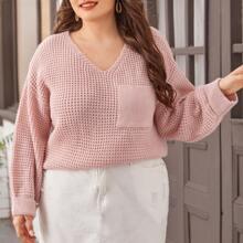 Plus V Neck Drop Shoulder Pocket Front Sweater