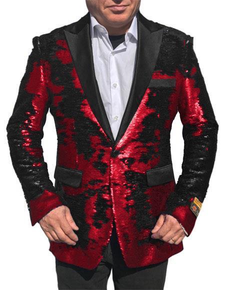 Alberto Nardoni Shiny Sequin RedTuxedo BlackLapel paisley sport Jacket