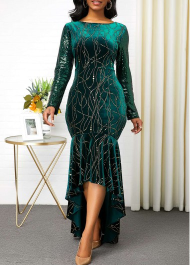 Cocktail Party Dress Sequin Sleeve Hot Stamping Velvet Mermaid Dress - XL