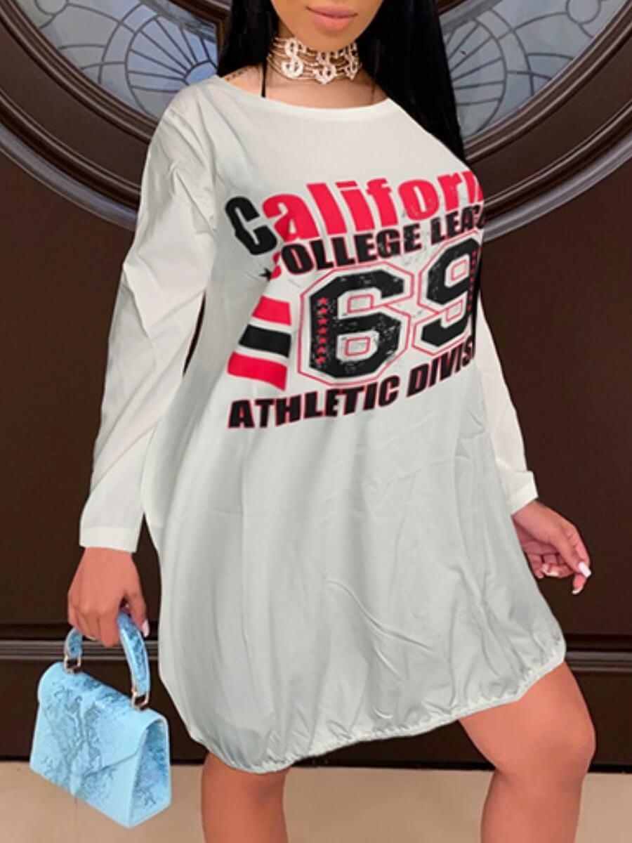 LW Lovely Casual O Neck Letter Print Loose White Knee Length Dress