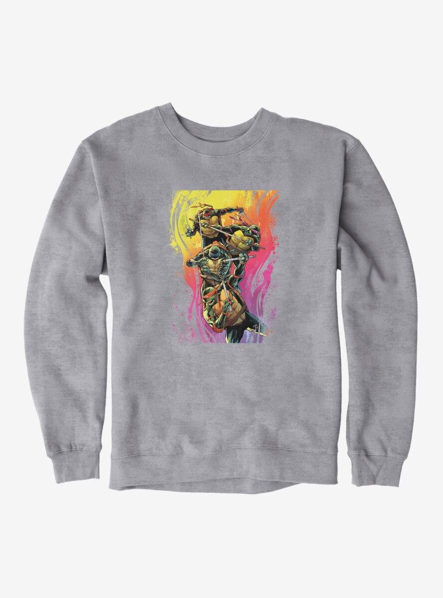 Teenage Mutant Ninja Turtles Rainbow Paint Group Fight Sweatshirt