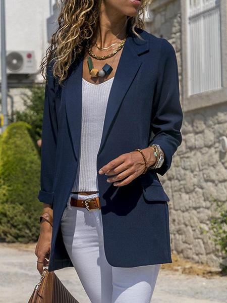 Milanoo Women Blazer Modern Turndown Collar Buttons Long Sleeves Layered