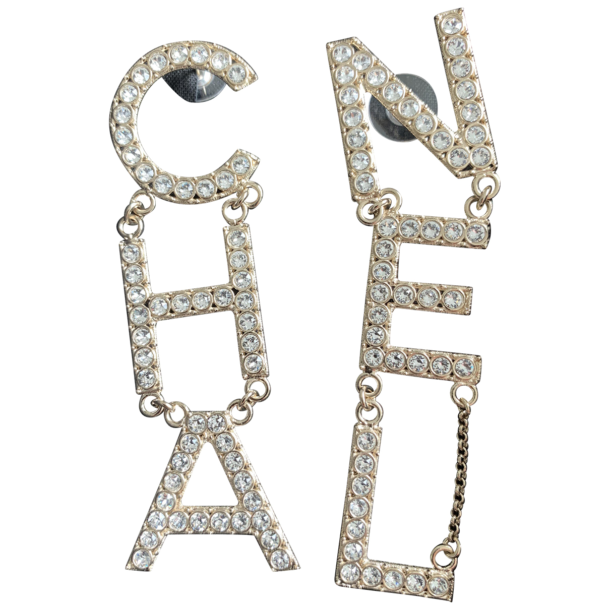 Chanel CHANEL Metallic Metal Earrings for Women N