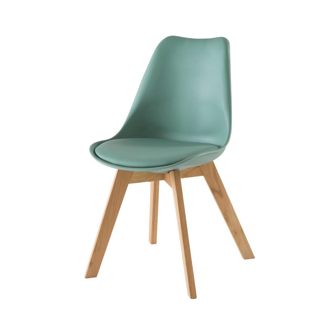Skandinavischer Stuhl mit massiver Eiche, wassergruen Ice