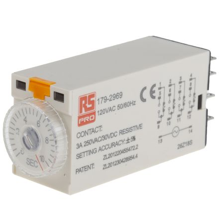 RS PRO 4PDT Time Delay Relay - 0.5 → 10 s, 4 Contacts, On-Delay, Plug In