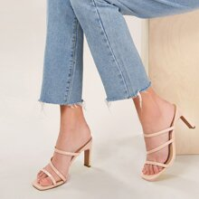 Square Toe Strappy Chunky Heel Mules