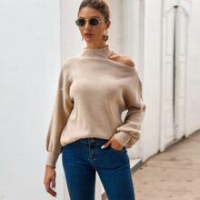 Strick Pullover mit Ausschnitt und sehr tief angesetzter Schulterpartie