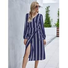 Surplice Neck Striped Tie Side Wrap Dress