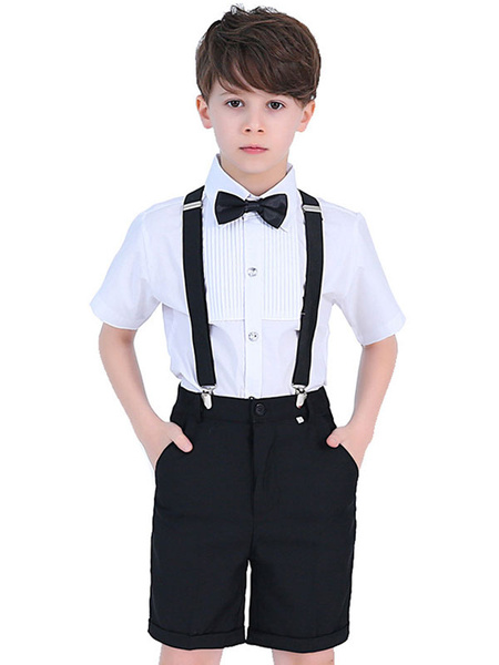 Milanoo Ring Bearer Suits Cotton Short Sleeves Shirt Pants Cravat Wedding Boy Suits 3pcs