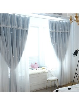 Romantic Star Hollowed-out Custom Blackout Curtains Cloth and Sheer Sewing Together Double Pinch Pleat Curtain