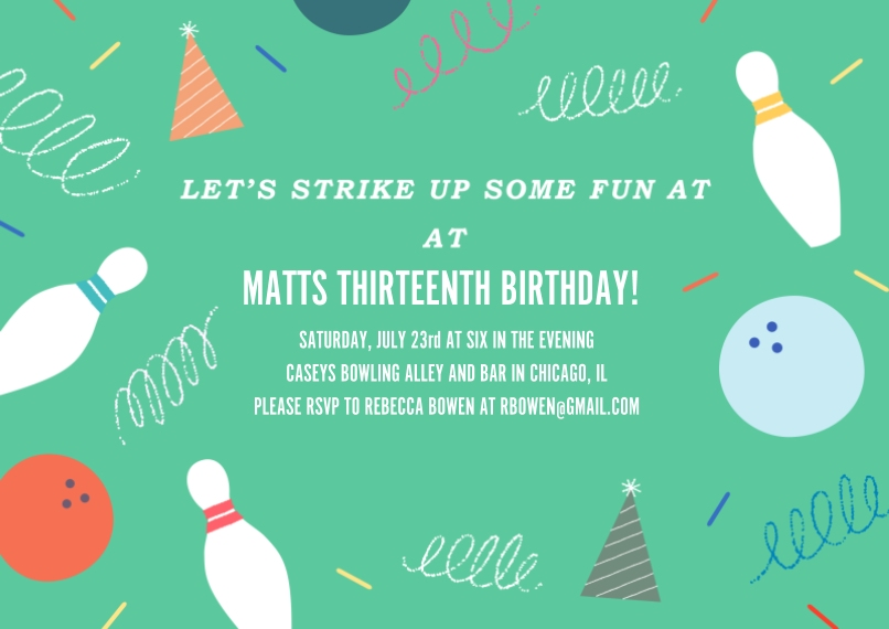 Kids Birthday Thank You 5x7 Cards, Premium Cardstock 120lb with Rounded Corners, Card & Stationery -Strike Up Fun Invitation