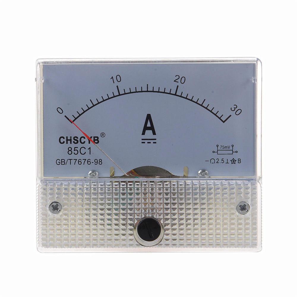 TS-0421 85C1-DC30A DC Current Meter Panel Portable 0-30A Ammeter Durable Analog Amperemeter Panel Voltmeter