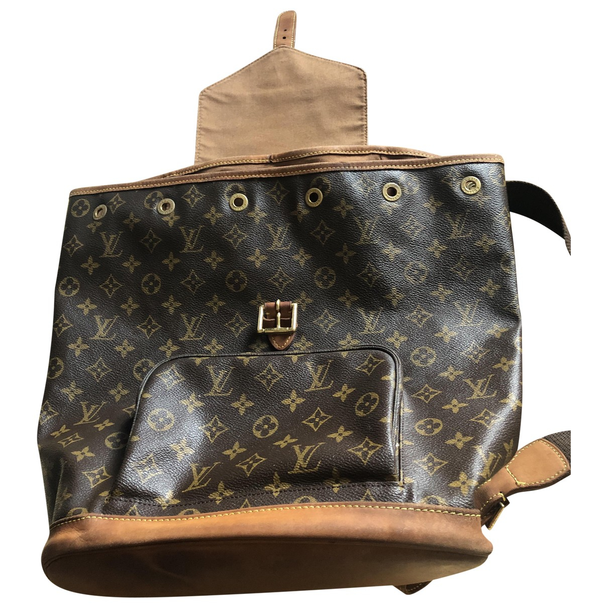 Mochila Montsouris de Lona Louis Vuitton