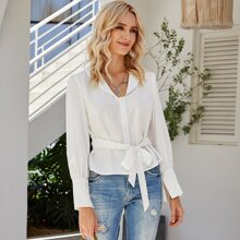 Button Front Belted Solid Top