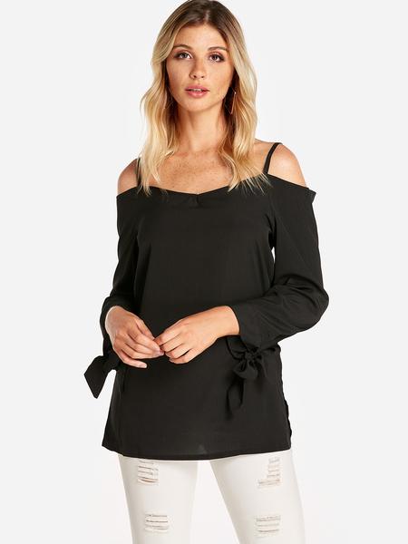 Yoins Black Self-tie Design Cold Shoulder Long Sleeves Blouse